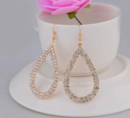 New Korean Design Women Hoop Earrings Fashion Big Hollow Shining Crystal Drop Earrings Silver Gold Jewelry HZ