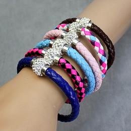 Free Shipping 19 Colors MIC Shambhala Woven bracelet Leather Czech Crystal Rhinestone Cuff Clay Magnetic Clasp Bracelets Bangle