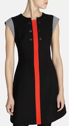 Fashion 60's Inspired Dress Novelty Color Block Buttons Embellishment Mini Casual Dresses DT241