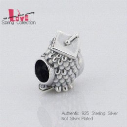 100% 925 Sterling Silver Beads Fits Pandora Bracelets Owl Beads with Blue Zircon DIY Jewelry Making for Women