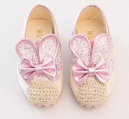 Children Big Girls Casual Shoes Sequin Rabbit Sneakers Shoes Autumn Bow Flats Shoes Kids Hollow Crochet Boutique Princess Party Shoes ZJ S08 online