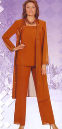 Plu Size Vintage Mother Of The Bride Dresses 2019 Orange Pant Suits Dresses For Mother Custom Made Square Neck Long Jacket With Crystal