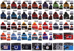 Wholesale NewEST American Football team Beanies Sports Beanie Winter Knit Cuff Beanies Hats Accept Mix Order Thousands of Models