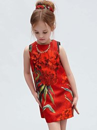 Wholesale New style children s clothing baby sleeveless dresses cost continuous printing Chinese style clothes