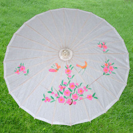 Wholesale Paper Parasols Wedding Parasol Bridal Accessories radius cm assorted colors Bamboo frame Chinese silk parasol handmade craft umbrella