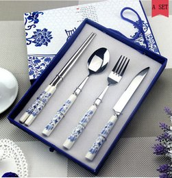 Wholesale Blue and White Porcelain Tableware Stainless Steel Dinnerware Cutlery Set Business Gift Knife Spoon fork Chopsticks Piece Set
