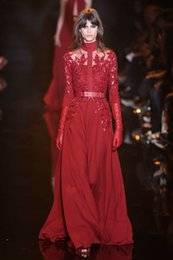Elie Saab Evening Dresses Burgundy A Line High Neck with Long Sleeves Lace Appliuques Sequins Long Formal Dresses Party Dresses Prom Dresses