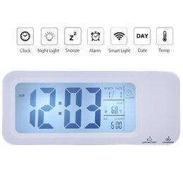 Wholesale locks Desk Table Clocks LED USB Rechargeable Smart Alarm Clock Desktop Table Desk Clock Intelligent Backlight Auto light Set Three Alarm