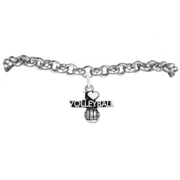 I Love Volleyball Sport Charm Rolo Chain Bracelets 100pcs A lot Link Chain Antique Silver Plated