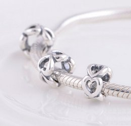 OPEN HEART SPACER DIY Beads Solid 925 Silver Not Plated Fits Pandora Bracelet&Charms