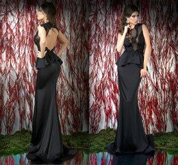 Wholesale Black Mermaid Prom Dress SatinTulle Crew Sleeveless Appiques Backless Evening Gowns robe de soiree vestidos para formatura abendkleider KF