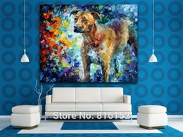 Cute Dog Palette Knife Oil Painting Animal Picture Printed on Canvas Modern Mural Art for Home Living Bedroom Wall Decor