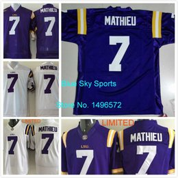 Wholesale Factory Outlet LSU Tigers Jersey Tyrann Mathieu Jersey White Purple Stitched College Football Jersey