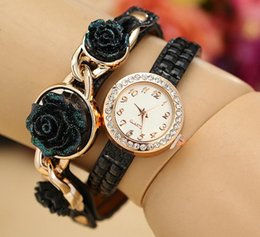 2015 New fashion Roses Watches bracelet watch women watch Lady Leather wrist watch Mix Colors Christmas gift