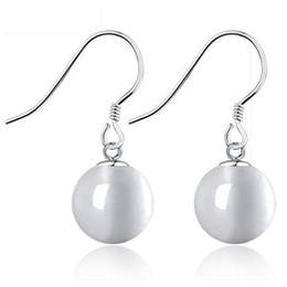 Woman silver earrings jewelry earrings wedding cat eye earrings 8 10 mm ball opal charms new