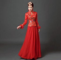 Shanghai Story vestido chino tradicional Chinese cheongsam dress Qipao gowns Red embroidery qipao dress Fur long sleeve cheongsam