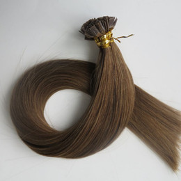 Pre bonded Flat Tip Hair Extensions 100g 100Strands 18 20 22 24inch #6 Medium Brown Brazilian Indian Keratin Human Hair