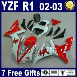 Injection fairings set for Yamaha 2002 2003 YZF R1 red white street bike parts bodywork 02 03 r1 fairing kits R13RW