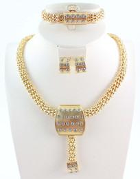 Wholesale New Design Fashion Jewelry Australia K Crystal Gold Plated Neckle Bracelet ace Bracelet Earring Ring Jewelry Set For Women s