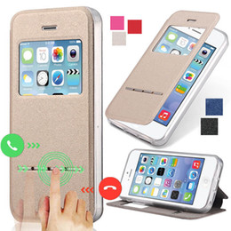 Wholesale-4S Smart Answer Calls Window Leather Case For Apple iPhone 4 4S 4G Auto Unlock Matte Flip Phone Bag Cover Silicon With Stand