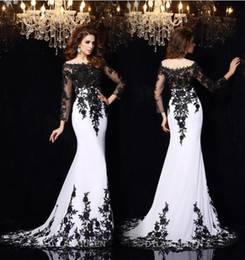 Wholesale 2016 Elegant Long Sleeves Mermaid Evening Dresses Vestidos De Noiva Arabic Crew Sheer Neck Black Lace Appliques Formal Prom Party Gowns