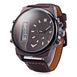 Wholesale Oulm Men Big dial Dual movt Multifunctional Sport Digital LED Military Watches Men Quartz Wristwatches Relogio Masculino