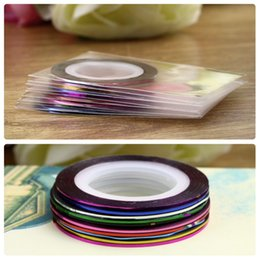 Wholesale Nail Art Decoration Stickers Decals nail tools Fashion Metallic Yarn Line Mix Color Rolls Striping Tape