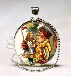 Wholesale Alice In Wonderland Necklace Alice Plays Croquet with Duchess Pink Flamingo Art Pendant