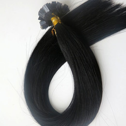 150g 1Set=150Strands Pre Bonded Flat Tip Hair Extensions 18 20 22 24inch #1 Jet Black Brazilian Indian Remy Human Keratin Hair