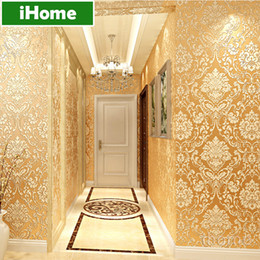 Wholesale European Vintage Damask Non woven Wallpaper Living Room D European Wall Covering Paper for Backdrop Textured papers home decor