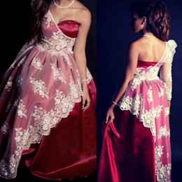2015 Red Prom Dresses Sweetheart Neckline One Shoulder Appliques Satin Ball Gown Floor Length Evening Dresses Dhyz 01