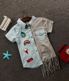 Wholesale-Wholesale 2015 new arrivals summer denim shirts for boys and girls fashion color tassel children's shirts N95