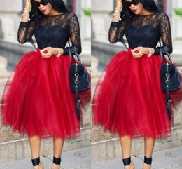 Dark Red Short Skirts For Women Lovely Full Tutu Party Dresses Formal Skirt Knee Length Fluffy Plus Size Skirt Maxi Skirt Fast Shipping