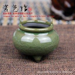 Wholesale Manufacturers supply Longquan celadon glaze handmade wire tire iron powder blue mixed batch of incense censer mini vaporizer