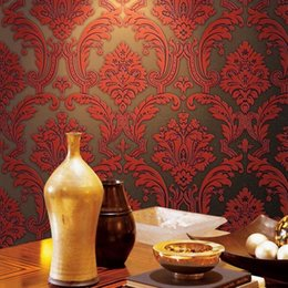 Wholesale 2015 Europe New Luxury Damask Super Weight Thick Wall Paper Mural D Embossed Flocking Non woven Wallpaper Home Decor M