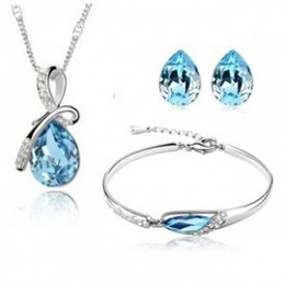 Wholesale 2016 Iron Side Table Tank Lowest Price Woman Necklace droplet Ear Stud bracelet Sterling Silver Model Crystal Jewelry Set A82 b45 e06