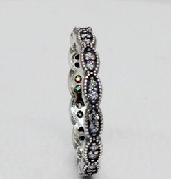 Fashion Jewelry Ring New 100% S925 Sterling Silver European Pandora Style Jewelry Sparkling Leaves with Clear CZ Ring