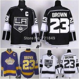 Factory Outlet, Los Angeles Kings ice hockey jerseys LA #23 Dustin Brown Black white purple jersey,Best Embroidery>5pcs by EMS!!