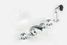 Wholesale 5 With Small Handle Bathroom Widespread Installation Mixer Chrome Finish Bathtub Faucet Tap AD