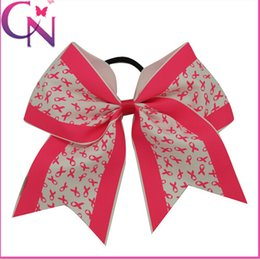 Wholesale 8 style available AIDS ribbon inch Large Baby Cheer Bows Cheerleading Bows With Elastic Band Big Cheer Bowknot For Girls pieces