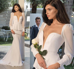 2016 Vintage Long Sleeves Wedding Dresses Deep V Neck Sheath Long Bridal Gowns With Peplum Pure White Wedding Dress 2015 Hot Sale