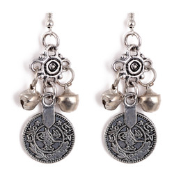 Wholesale Silver Turkish Bell Coin Earrings floral design Boho Gypsy Beachy Ethnic Tribal Festival Jewelry