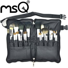 Wholesale MSQ Professional Cosmetic Brush Set Top Grade Soft Animal Sable Hair Black Wood Handle With Black PU Leather Case