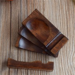 Wholesale 7 cm Spoon Chopsticks Dual use Bracket Natural Solid Wood Spoon Chopsticks Rests Korean Style Tableware MOQ Piece