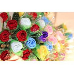 Wholesale Free ship Special offer Rose shape towels washcloth creative wedding gift Birthday gift