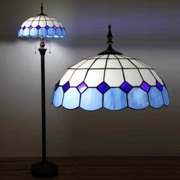 Mediterranean Style Stained Glass Brief White &Blue Tiffany Floor Lamp Coffee Bar Living Room Floor Lamp