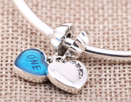 Sterling Silver Charms 925 Enameled Blue ONE LOVE European Charms for Bracelets DIY Heart Beads Accessories Lover Gift