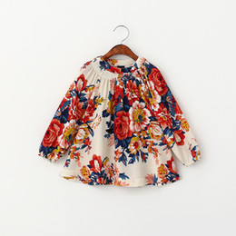Wholesale Everweekend New Kids Girls Floral Print Ruffles T Shirts Cotton Linen Spring Fall Long Sleeve Tops Western Blouse