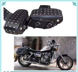 Wholesale Universal Leather Motorcycle Motorbike Saddlebag Saddle Bag Tool Bag Travel luggage Rust free Buckles and Rivets