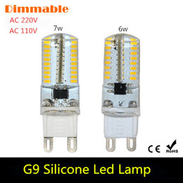 Wholesale Dimmable Mini G9 Silicone Body LED Lamp V V W W SMD LED Crystal Silicone Candle Light Replace W W Halogen Bulb